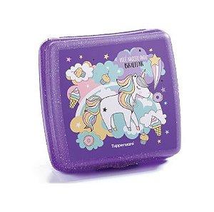 Porta Sanduíche Unicórnio Roxo com Glitter - Tupperware