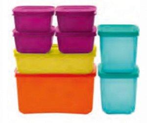 Freezer Line 2,5 L + Freezer Line 1,1 L 2 Peças +  Freezer Line 1 L +Freezer Line 450ml  4 peças Kit 8 Peças- Tupperware