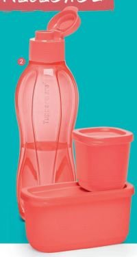 Kit Coral Eco Tupper Garrafa  750ml  Coral  +  Refri Line 110 ml + Refri Line 250 ml- Tupperware
