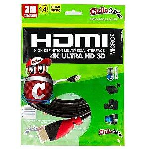 Cabo Micro HDMI Para HDMI 1.4 ULTRA HD 3D, 3 Metros