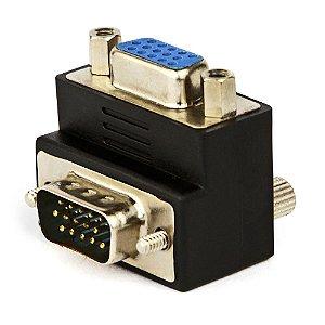 Adaptador VGA macho para VGA fêmea 90º- Alongar Cabo VGA
