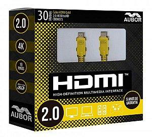 Cabo HDMI 2.0 - 4K, Ultra HD, 3D, 19 Pinos - 30 metros-Aubor