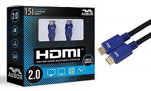 Cabo HDMI 2.0 - 15 metros - 4K, Ultra HD, 3D, 19 Pinos - Aubor