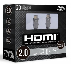 Cabo HDMI 2.0 - 20 Metros - 4k, Ultra HD, 3D, 19 Pinos - Aubor