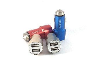 Mini Carregador Veicular Martelo de Segurança 12V-24V - 2 Portas USB - Com Placa  Estabilizadora
