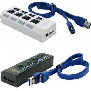 Mini HUB 4 Portas USB 3.0 Com Interruptor ON/OFF + Cabo Adaptador