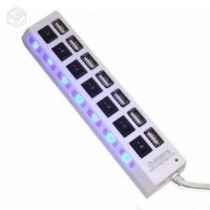 Hub USB 2.0 7 Portas Opcional de Fonte - Com Teclas ON/OFF Hight Speed - Branco
