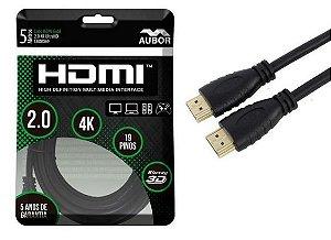 Cabo HDMI 2.0 - 4K, Ultra HD, 3D, 19 Pinos - 5 Metros -  aubor