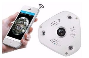 Câmera IP HD Áudio VR 360º 3D Panorâmica WiFi cam 1.3MP - Rj45