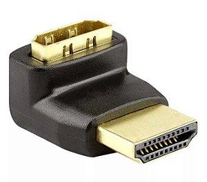 Adaptador Plug L - HDMI Macho Para HDMI Fêmea - 90º Graus