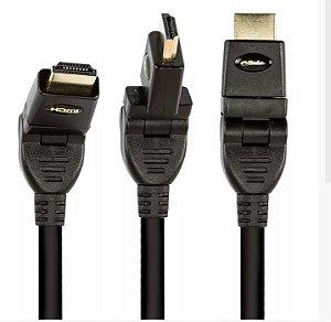 Cabo HDMI 360 graus - 1.4, 4K, ULTRA HD, 3D - 2 Metros