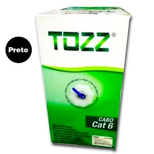 Caixa Cabo de Rede Cat6 - Preto - TZ6 - 305 metros - Tozz