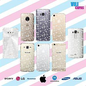 Capinha para celular - Corações e Flores 'Branco'
