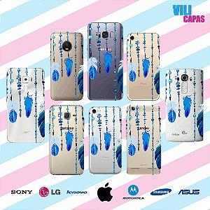 Capinha para celular - Penas Azuis