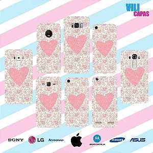 Capinha para celular - Corações e Rosas