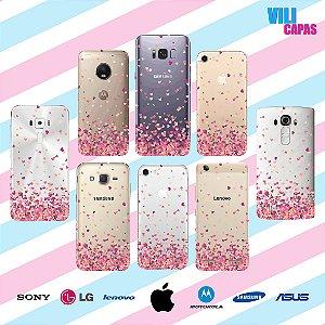 Capinha para celular - Corações Flutantes Rosa