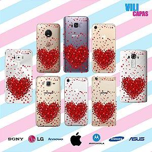 Capinha para celular - Corações Flutuantes Vermelho