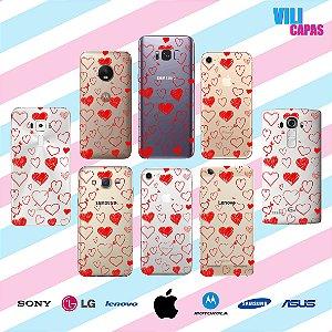 Capinha para celular - Corações Rabiscados Vermelho