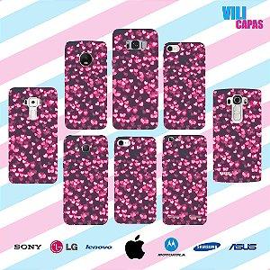Capinha para celular - Corações Rosa Neon