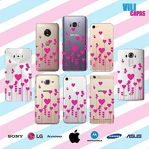 Capinha para celular - Corações Rosas e Passarinhos