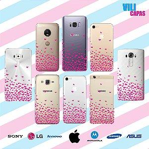 Capinha para celular - Corações Flutuantes Rosas 2