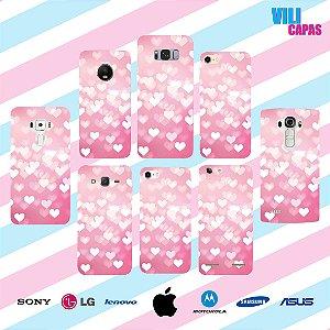 Capinha para celular - Corações Rosa Claro