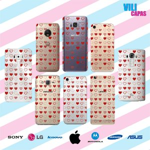 Capinha para celular - Corações Vermelho