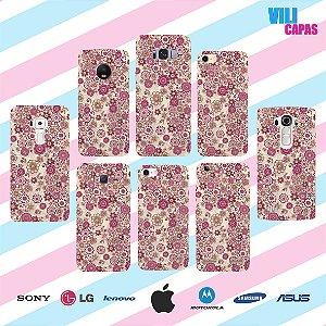 Capinha para celular - Flores Roxas 2