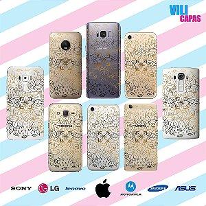 Capinha para celular - Flores Douradas