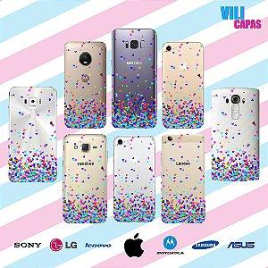 Capinha para celular - Corações Flutuantes Coloridos