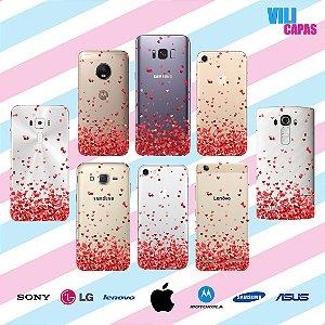 Capinha para celular - Corações Flutuantes Vermelho 2
