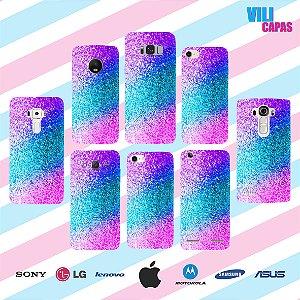 Capinha para celular - Brilho Rosa e Azul