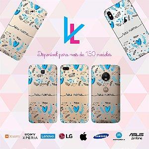 Capinha para celular - Coração azul e flores personalizada com nome