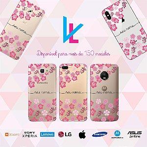 Capinha para celular - Flores rosas diversas com seu nome