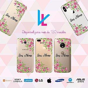 Capinha para celular - Flores personalizada com nome