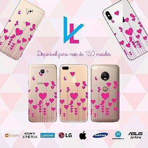 Capinha para celular - Corações e passarinhos rosa