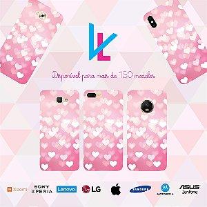 Capinha para celular - Corações rosa