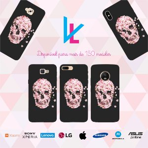 Capinha para celular - Caveira rosa