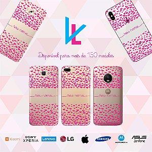 Capinha para celular - Corações rosa personalizada com nome
