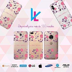Capinha para celular - Flores roxas e rosas personalizada com nome