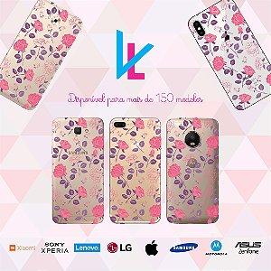 Capinha para celular - Flores roxas e rosas
