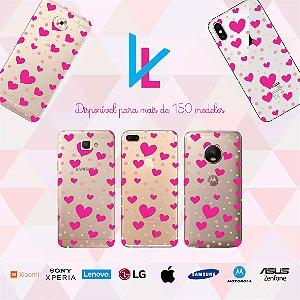 Capinha para celular - Corações rosas 2