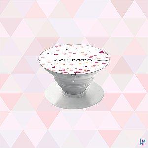 Pop Socket - Corações rosa com nome