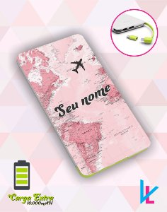 Carregador Portátil - Mapa mundi rosa com nome