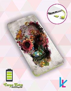 Carregador Portátil - Caveira Mexicana com flores