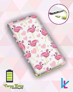 Carregador Portátil - Flamingos e Corações