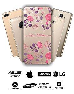 Capinha - Flores roxas e rosas com nome