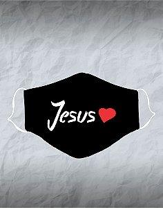 Máscara de Tecido Poliéster Personalizada Lavável Reutilizável - Jesus