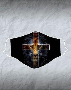Máscara de Tecido Poliéster Personalizada Lavável Reutilizável - Leão Cruz