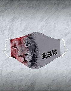 Máscara de Tecido Poliéster Personalizada Lavável Reutilizável - Leão Jesus